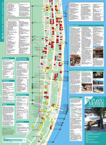 Map of services, attractions and beach clubs in Puerto Morelos