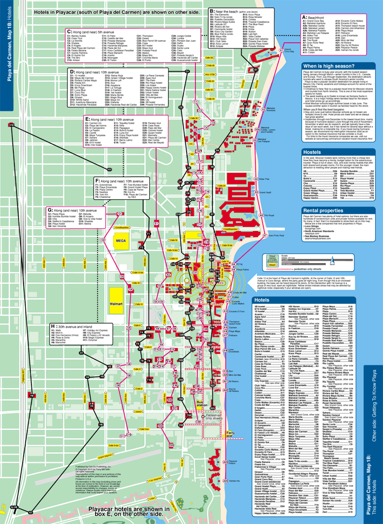 Map of Playa del Carmen hotels