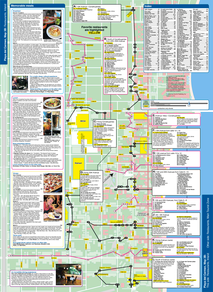 Map of Playa del Carmen restaurants