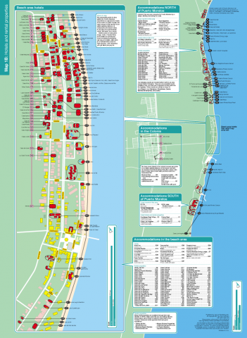 Puerto Morelos map of hotels and rental properties